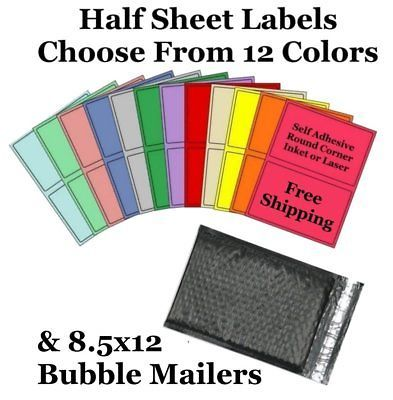 8.5x12 ( Black ) Poly Bubble Mailers + Half Sheet Self Adhesive Shipping Labels
