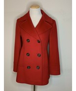 Fleurette Loro Piana 100% Wool Peacoat Coat Jacket Luxury Designer Red Sz 4 - $199.00