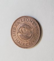 "1964 Sierra Leone Sir Milton Margai Half Cent 3/4"" Bronze Coin - $1.95"