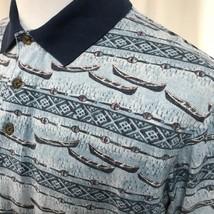 Woolrich Men Shirt Polo Canoe Blue Short Sleeve S/S Large L 100% Cotton - $9.46