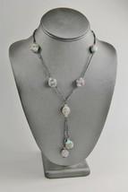 Estate Art Deco Era Murano Wedding Cake Art Glass & Enamel Necklace Lariat Style - $125.00
