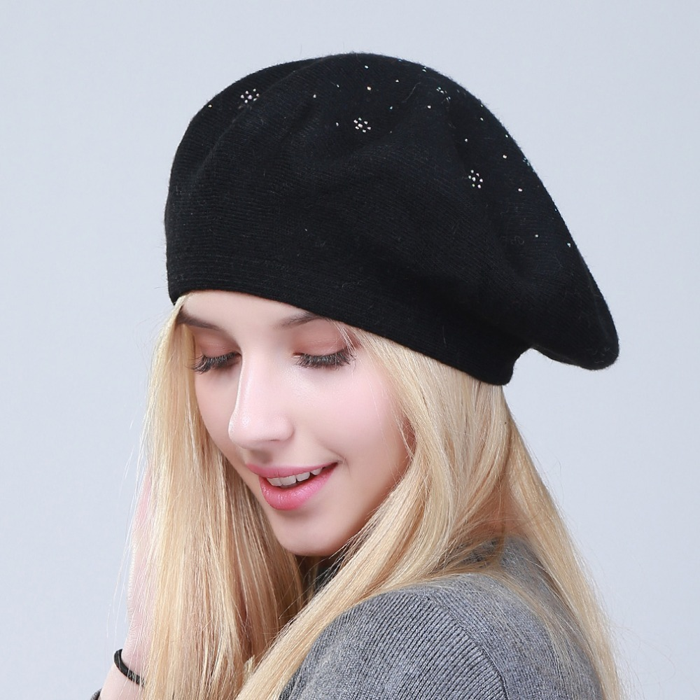 b6316cb5 Geebro Women's Berets Hat Fashion Solid Color Wool Knitted Berets With