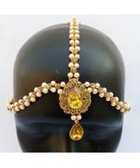 ETHNIC PEARL MATHA PATTI GOLDEN HEAD CHAIN HIJAB BRIDAL INDIAN JEWELRY L... - $27.08