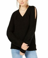 CRAVE FAME Juniors' Black V-Neck Twisted Long-Sleeve Sweater Size Large ... - $28.70
