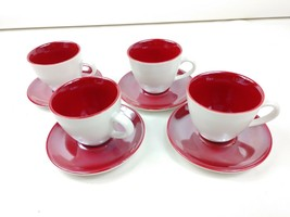 Starbucks 2005 Red & White 3 oz. Demitasse Retro Cups and Saucer Set of 4 - $24.18