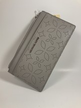 Michael Kors pearl gray large slim card case wallet genuine leather  - $64.20