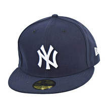 New Era New York Yankees 59Fifty Men's Fitted Hat Cap Navy Blue-White - £28.06 GBP