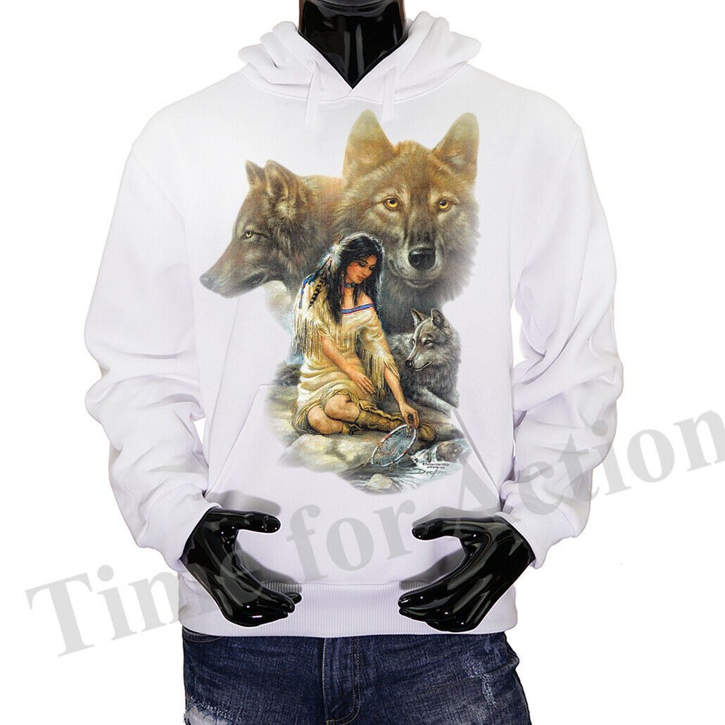 Primary image for Native American Girl With Wolves Graphic Fleece Pullover Hoodie