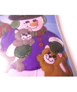 Snowman With Kittens Cats Winter Felt Kit NEW SEALED Christmas Wall Deco... - $24.70