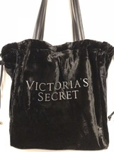NWT Victoria's Secret Luxe Black Velvet Logo Tote Bag -- Snap Closure!!! - $28.70