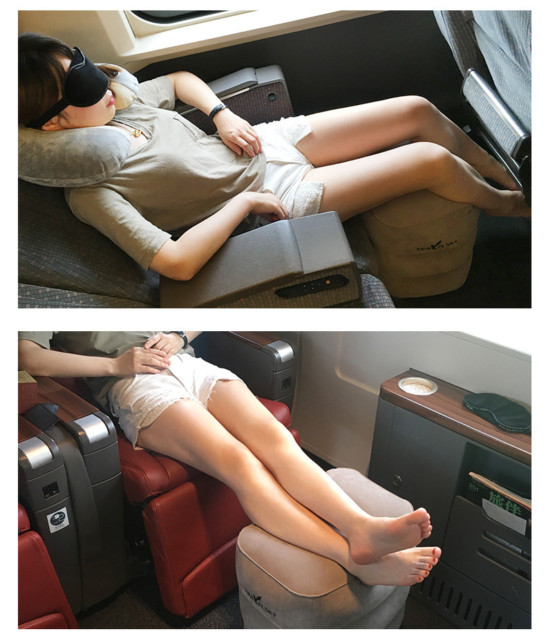 Footrest Travel Pillow Inflatable Rest Leg Foot Portable Cushion -3 layers(Blue)