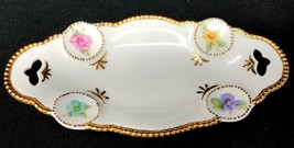 Antique Victorian Porcelain Soap Dish Bowl Gold with Flowers Signed Lila... - $53.99