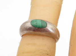 925 Sterling Silver - Vintage Malachite Smooth Dome Band Ring Sz 4 - R17734 - $25.30