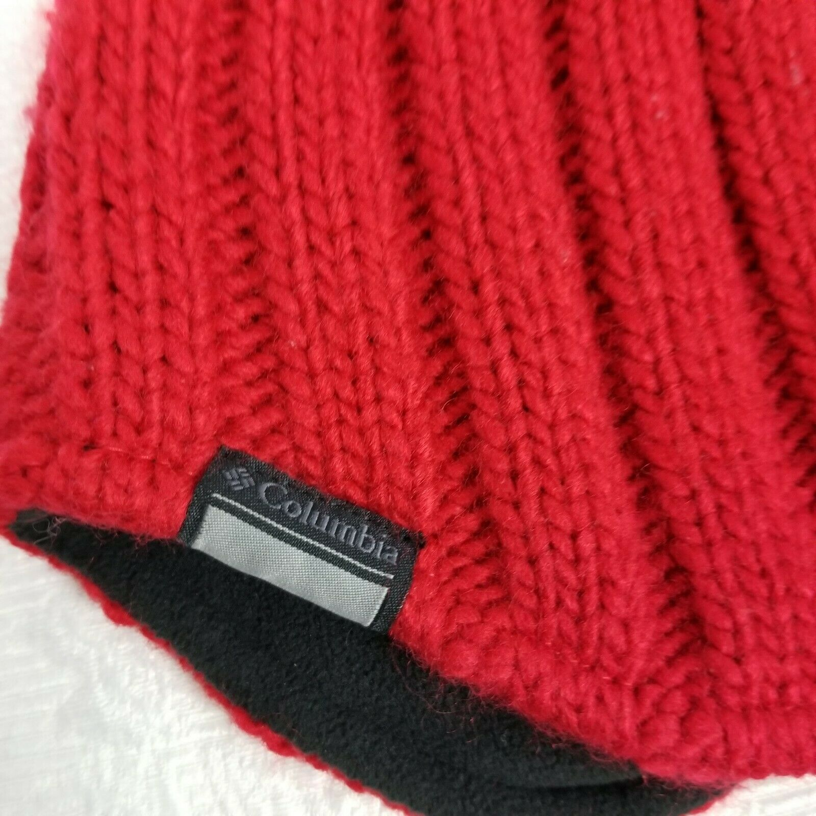 Columbia Red Knit Beanie Winter Hat Men's Women's One Size OS Unisex Fleece Line