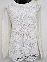 Top 1X Plus INC $99 NWT Sweater Washed White Long Sleeve Crochet Overlay... - $35.64