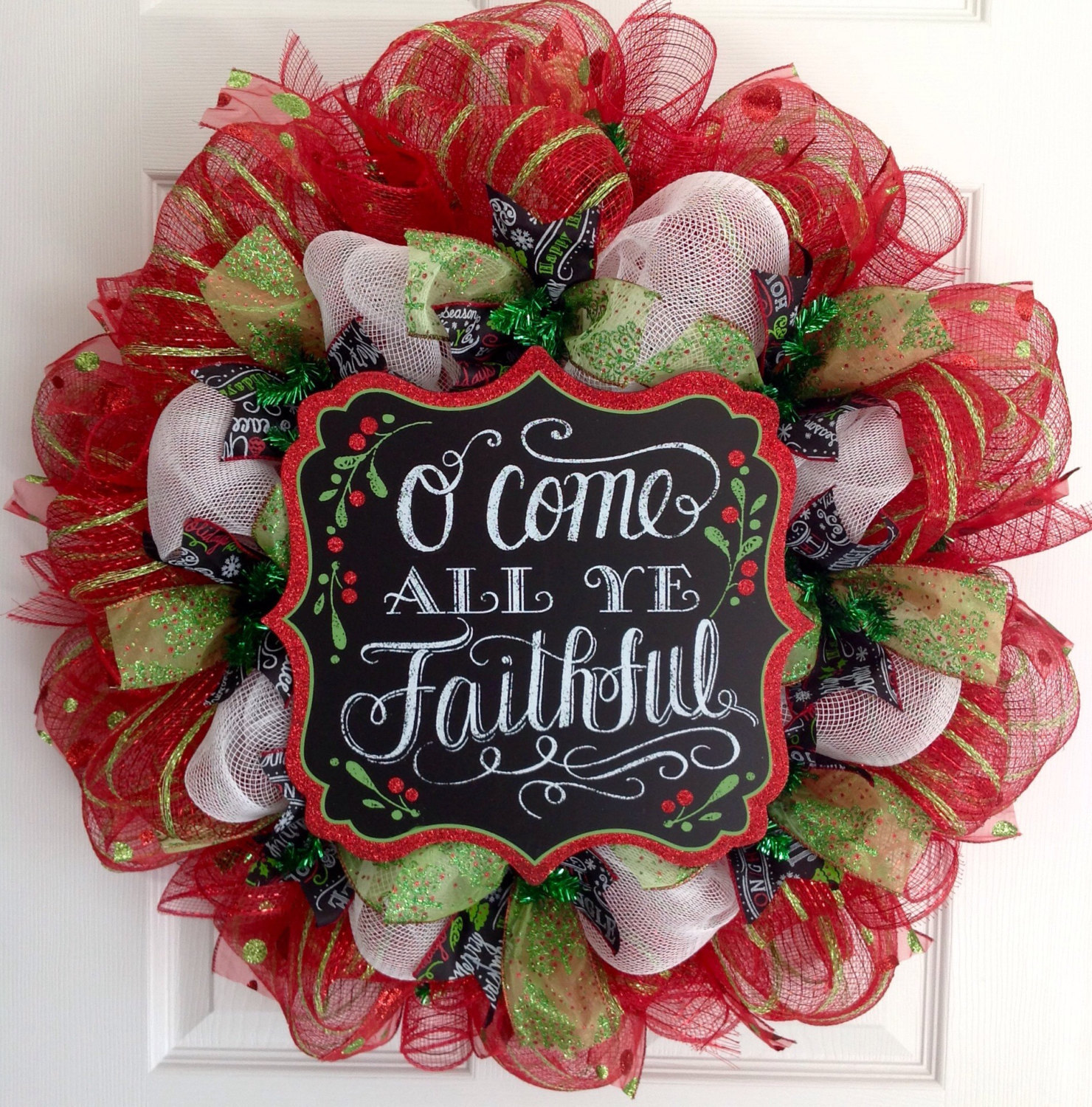 Primary image for Come All Ye Faithful Handmade Deco Mesh Christmas Wreath