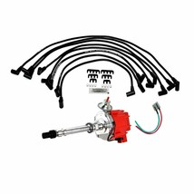 SBC Chevy 283 329 350 383 HEI Distributor 8mm SPARK PLUG WIRES Red Cap