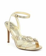 MICHAEL KORS Tricia Metalic Pale Gold Leather Strappy  Slingback Dress S... - $94.91