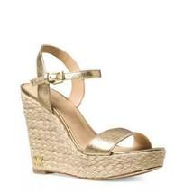 Michael Michael Kors Jill Ankle Strap Wedge Sandals Pale Gold Metallic Leather - $56.20
