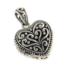 Women' Solid Sterling Silver 3D Bali Locket Heart Pendant ANTIQUE DESIGN... - $30.39