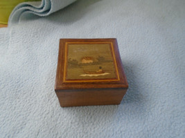 Great Example OF Marquetry Box Boating Scene With Scented Bag Inside - $6.89