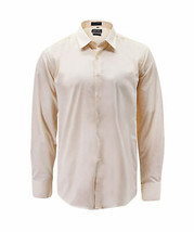 Men's Cream Color Button Up Long Sleeve Solid Slim Fit Dress Shirt image 1