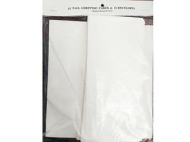 15 Tall Blank Greeting Cards and 15 Envelopes, Glossy Finish, White