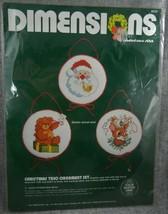 Christmas Trio Ornament Set Dimensions Kit 8323 Cross Stitch Santa Teddy Rudolph - $15.24