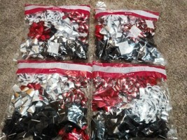 48 Count Holiday Loft Self Stick Christmas Bows New In Bag Red, Black, S... - $12.87