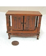 Vintage Doll House Dollhouse Miniature Real Wood Side Board  Doors Spindels - $29.69