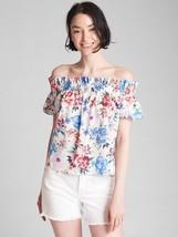 Gap Women Blouse Top S Off Shoulder White Floral Smock Neck Short Sleeve Cotton - $29.99