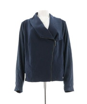 H Halston Faux Suede French Terry Zip Front Jacket Navy 22W NEW A281244 - $54.43
