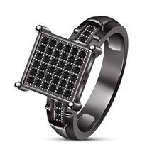 Ladies Black Gold Over 925 Silver Simulated Diamond Round Bridal/Engagem... - $82.97