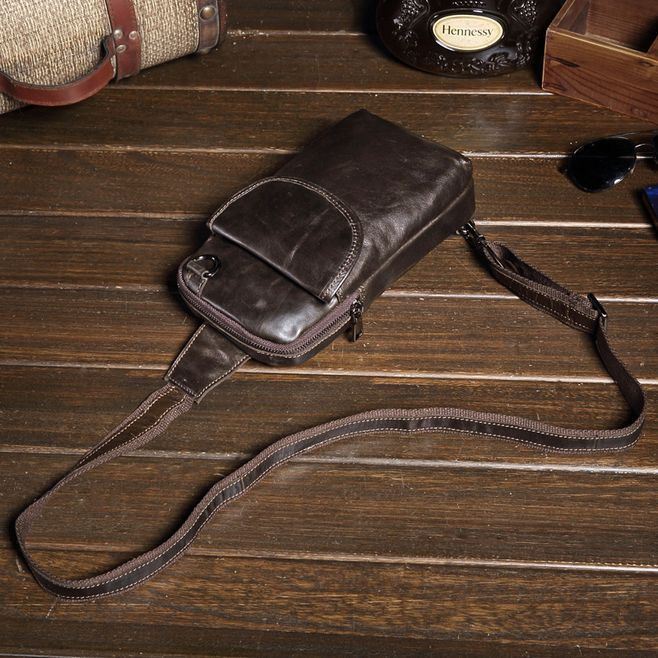 Oil Wax Leather Men Chest Pack Sling Shoulder Fanny Outdoor Travel Running Bags