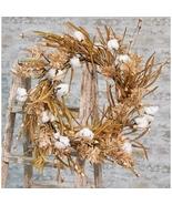 "Country Cotton Wreath w/Fall Grass, 22"" Fall Autumn Door Office  - $55.00"