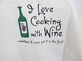 """Attitude Apron by LA Imprints White Humorous """"I Love Cooking With Wine..... - $16.40"""