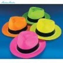 Fun Express Neon Color Plastic Gangster Hats - 12 Piece Pack - $15.85