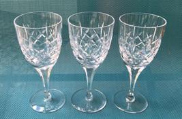 "Atlantis Crystal Wine Glasses Fernando Simple Cuts RARE 6"" Tall Set of 3 - $34.65"