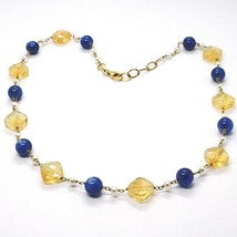 Silver necklace 925, Yellow, Citrine Faceted Quartz, Kyanite, Pearl Round image 1