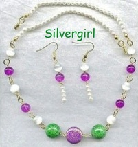White Pearl Purple Green Bead Necklace Earring Set - $23.26