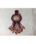 Pendant Large Bead Embroidered Oval Fringed Agate Carnelian Handmade OOAK  - $75.00