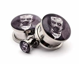 Pair of Screw on Picture Plugs Gauges Choose Style and Size (Zombie Edga... - $19.80