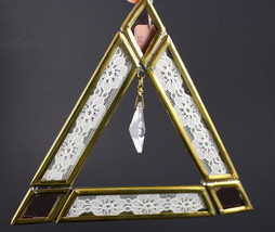 Window Suncatcher Triangle Acrylic Prism Lace Brass Metal Colored Glass ... - $19.99
