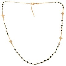 18K ROSE GOLD NECKLACE, FACETED BLACK SPINEL FLAT CROSS, ROLO CHAIN, ALTERNATE image 2