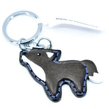 """Northwoods Layered Wood 3D Stitched Design Howling Wolf 1.5"""" Keychain"""