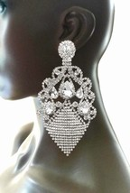 """5"""" Long Oversized Clip On Earrings Clear Crystals Drag Queen Pageant, Bridal  - $31.35"""