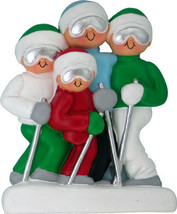 Skiing Family 4 People Christmas Tree Ornament Cute Unique Christmas Fun... - $13.83