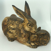 1975 GOEBEL BUNNY RABBIT FIGURINE brown mother baby 34301-1 W Germany sc... - $64.35