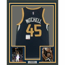 FRAMED Autographed/Signed DONOVAN MITCHELL 33x42 Utah Blue Jersey PSA/DN... - $549.99