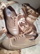 GIANNI BINI WOMEN'S OXFORD BEIGE STUDDED TEXTURED SHOES SIZE 7.5M Lace Ups - $19.79